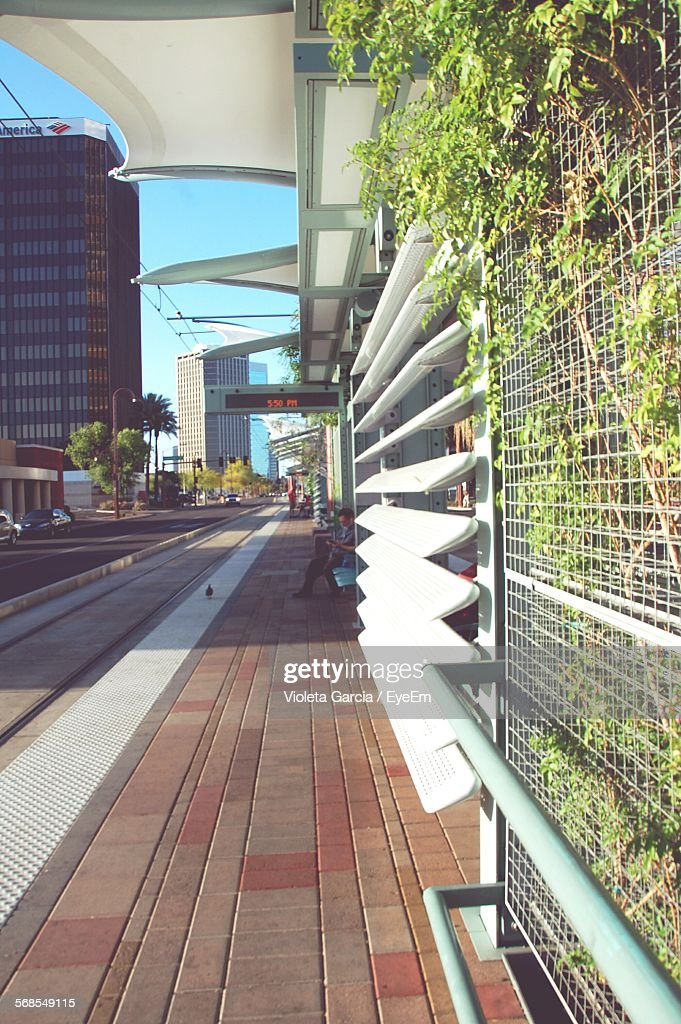 Metrobus Station In City : Stock Photo