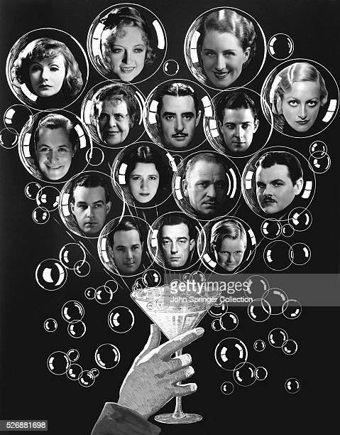 Top row Greta Garbo Marion Davies Norma Shearer Joan Crawford second row Robert Montgomery Marie Dressler John Gilbert Ramon Novarro third row Alfred...