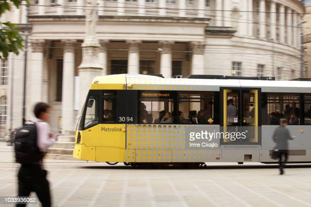 metrolink, the manchester's tram - manchester england stock pictures, royalty-free photos & images
