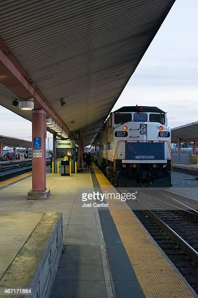 metrolink train at los angeles' union station - union station los angeles stock photos and pictures