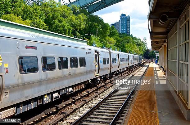 Metro-North Commuter Railroad train at station, Bronx, New York City