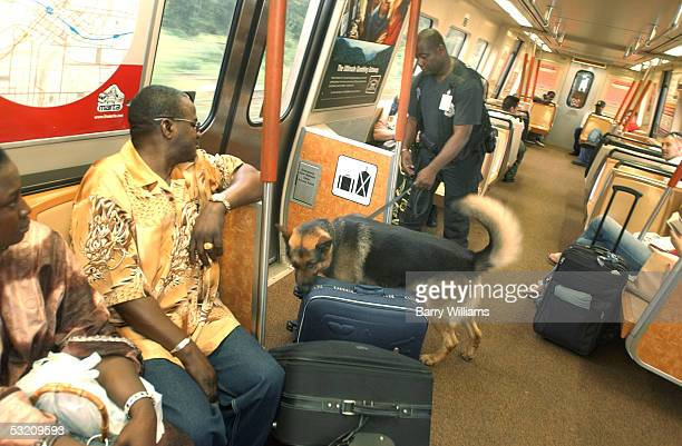Metropolatin Atlanta Rapid Transit Authority Police officer Paris Swinson searches for explosives with his bombsniffing dog Haro on the North Line...