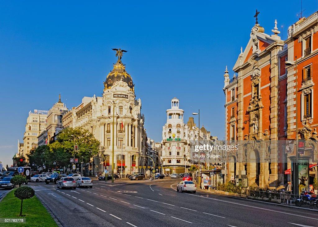 Metropolis Building on Grand Via in Madrid : Stock Photo