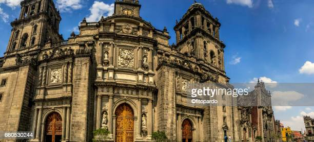 metropolitan cathedral clean front view - national palace mexico city stock pictures, royalty-free photos & images