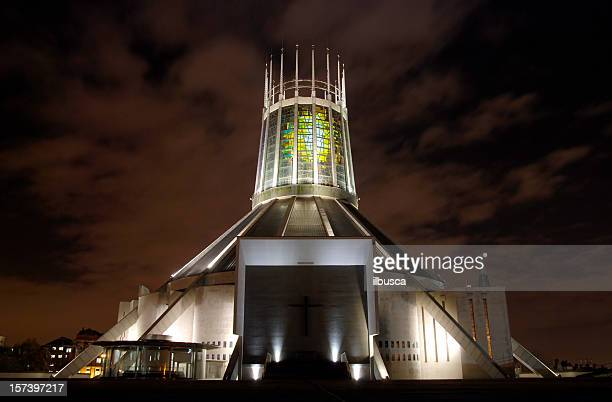 Metropolitan Cathedral of Christ the King in Liverpool at night