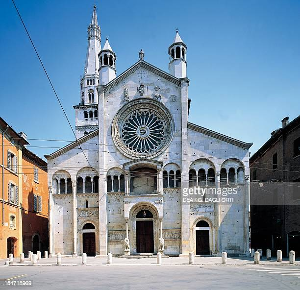 Metropolitan Cathedral of Saint Mary of the Assumption and St Geminiano facade Modena EmiliaRomagna Italy 12th century