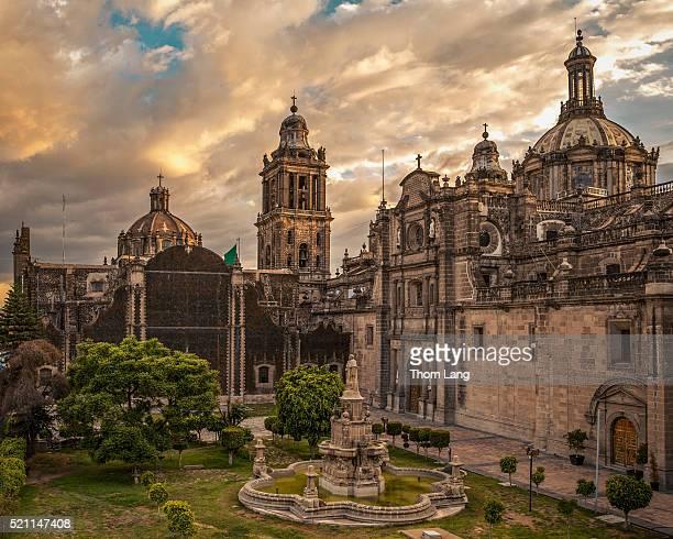 metropolitan cathedral rear view, plaza de la constitucion, mex - mexico city stock pictures, royalty-free photos & images