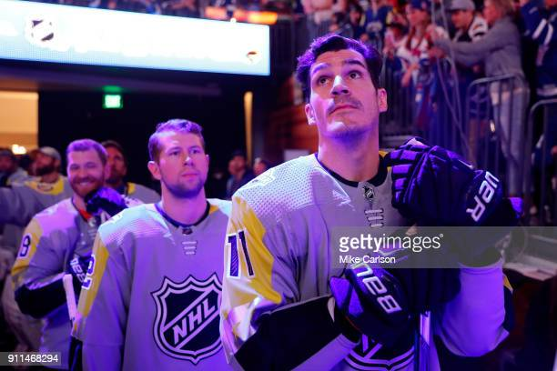 R} Metropolitan Division AllStars teammates Kris Letang of the Pittsburgh Penguins Josh Bailey of the New York Islanders and Brian Boyle of the New...