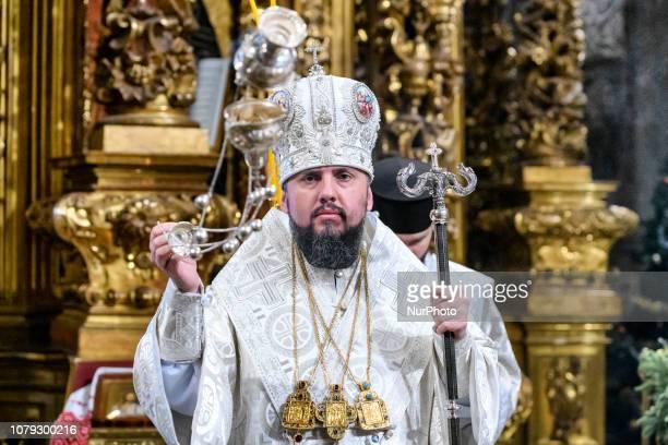 Metropolitan Epifaniy the head of the Ukrainian Orthodox Church leads the Orthodox Christmas service in St Sophia Cathedral in Kyiv Ukraine 07...