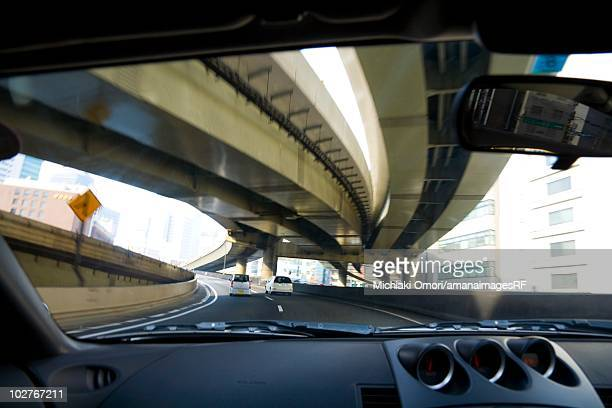 Metropolitan Expressway seen from car interior, Tokyo, Japan.