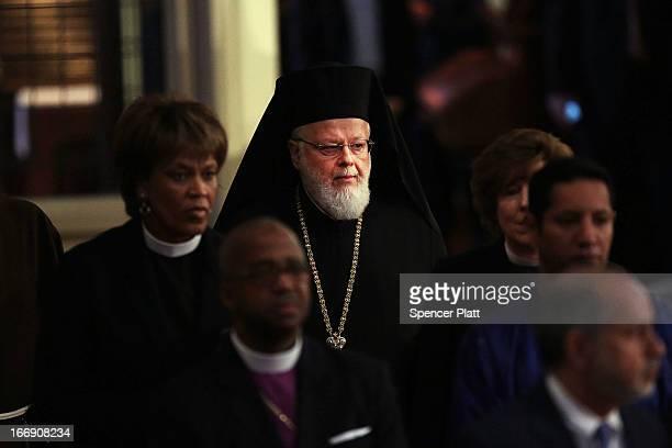 Metropolitan Methodios the hierarch of the Greek Orthodox church in Boston enters an interfaith prayer service for victims of the Boston Marathon...