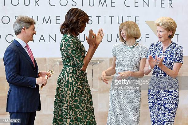 Metropolitan Museum of Art Director Thomas P Campbell First Lady of the United States Michelle Obama Vogue Editor in Chief Anna Wintour and...