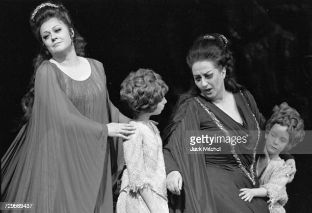 Metropolitan Opera's production of Norma starring Montserrat Caballé John Alexander Fiorenza Cossotto and Giorgio Tozzi in February 1973 Photo by...