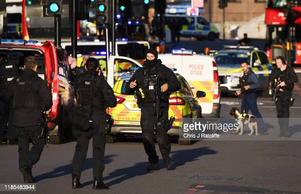 Metropolitan Police Armed Response officers gather near Borough Market after reports of shots being fired on London Bridge on November 29 2019 in...