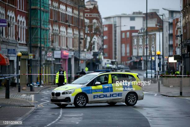 Metropolitan Police car parked at the scene of a stabbing on Willesden Lane on February 7, 2021 in London, England. Police were called to Willesden...
