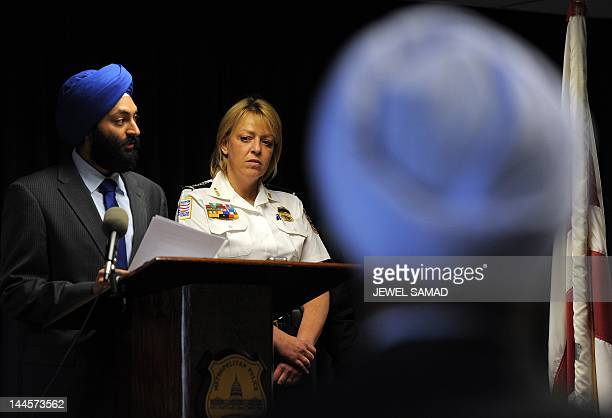 Metropolitan Police Chief Cathy Lanier listens as Jasjit Singh Executive Director Sikh American Legal Defense and Education Fund speaks during an...