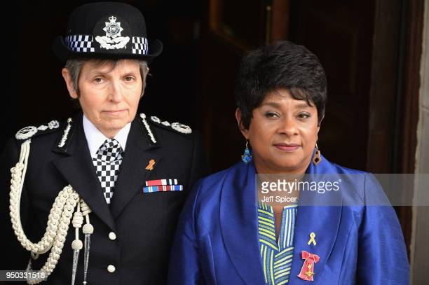 Metropolitan Police Commissioner Cressida Dick and Doreen Lawrence Baroness Lawrence of Clarendon attend the 25th Anniversary Memorial Service to...
