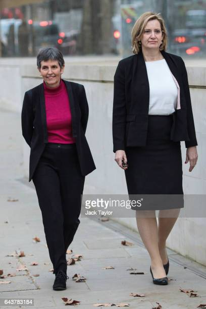 Metropolitan Police Commissioner Cressida Dick and Home Secretary Amber Rudd walk towards the assembled media outside the Curtis Green Building the...