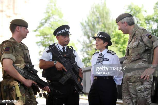 Metropolitan Police Commissioner Cressida Dick and Major General Ben Bathhurst General Officer Commanding London District meet soldiers and police...