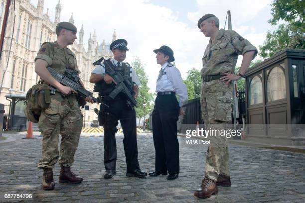 Metropolitan Police Commissioner Cressida Dick and Major General Ben Bathhurst General Officer Commanding London District meet soldiers and police...