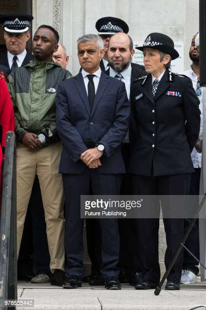 Metropolitan Police commissioner Cressida Dick and Mayor of London Sadiq Khan take part in a commemoration event outside Islington Town Hall in north...