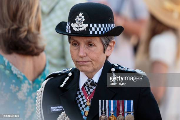 Metropolitan Police Commissioner Cressida Dick attends the annual Trooping The Colour parade at Horse Guards Parade on June 17 2017 in London England...