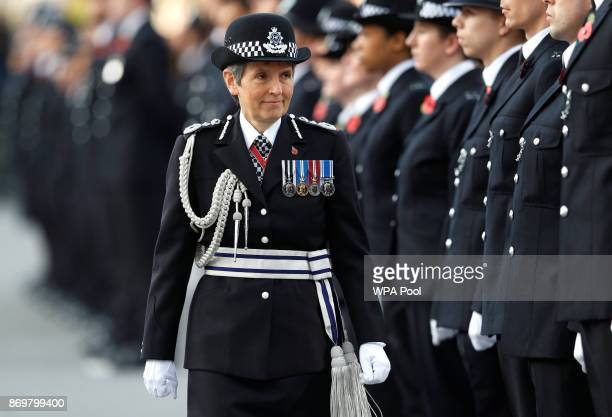 Metropolitan Police Commissioner Cressida Dick inspects police cadets at the Metropolitan Police Service Passing Out Parade in Hendon on November 3...