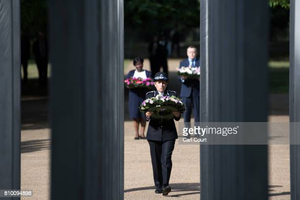 Metropolitan Police Commissioner Cressida Dick lays a wreath at the 7/7 Memorial in Hyde Park to mark the 12th anniversary of the terror attacks in...