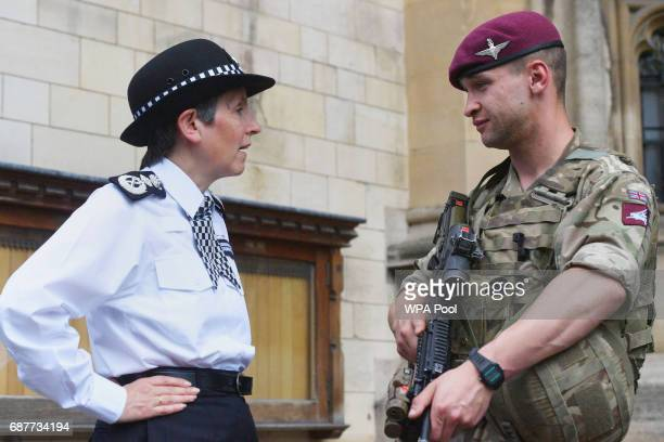 Metropolitan Police Commissioner Cressida Dick meets a soldier on deployment to assist police officers in the Palace of Westminster on May 24 2017 in...