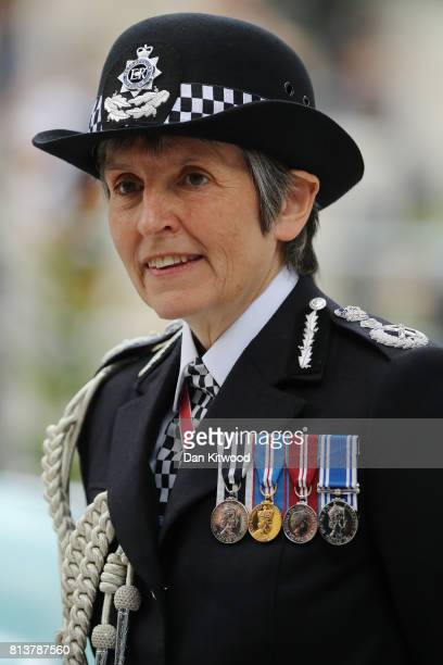 Metropolitan Police commissioner Cressida Dick stands outside New Scotland Yard after the departure of Queen Elizabeth II on July 13 2017 in London...