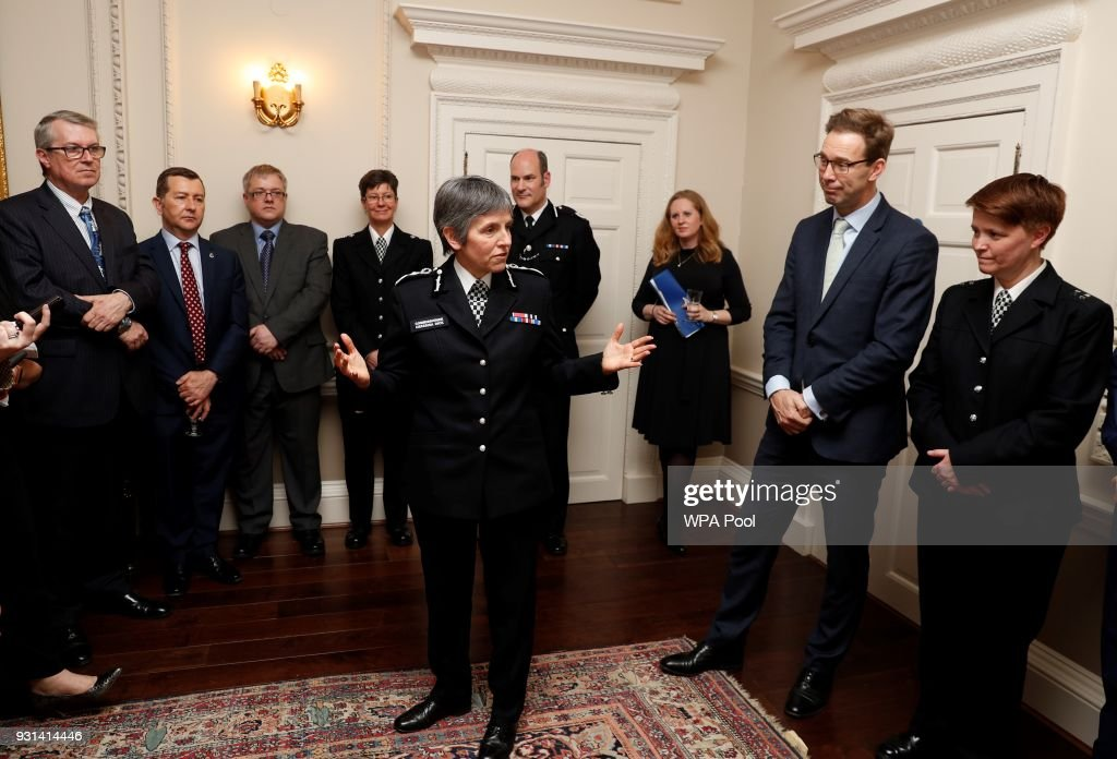 Metropolitan Police Commissioner Cressida Dick (C) thanks attendees, including MP Tobias Ellwood (2R), who recieved a bravery award in recognition for his actions in trying to help save the life of PC Keith Palmer, during a reception for the winners of The Met Excellence Awards at Kensington Palace on March 13, 2018 in London, England.