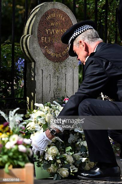 Metropolitan Police Commissioner Sir Bernard HoganHowe lays a wreath at the spot where British police officer Yvonne Fletcher was killed during a...