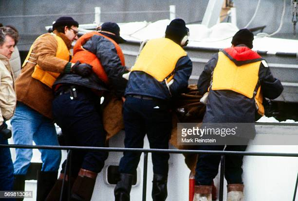 Metropolitan Police Department of the District of Columbia US Navy divers and the US Coast Guard recover the body of one of the victims of the Air...