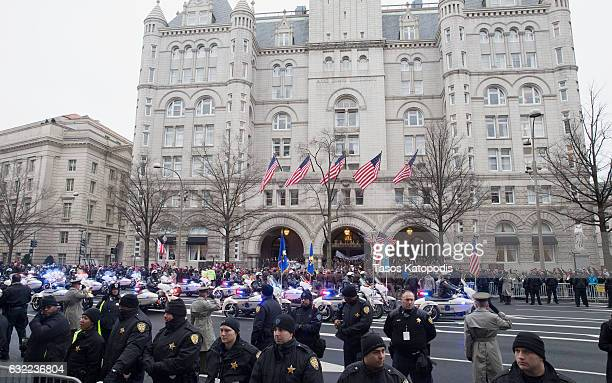Metropolitan Police Department officers on motorcycles ride in the Inaugural Parade on January 20, 2017 in Washington, DC. Donald J. Trump was sworn...