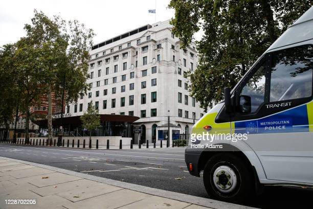 Metropolitan Police flag is flown at half mast at Scotland Yard on September 25, 2020 in London, England. A murder investigation has been launched...