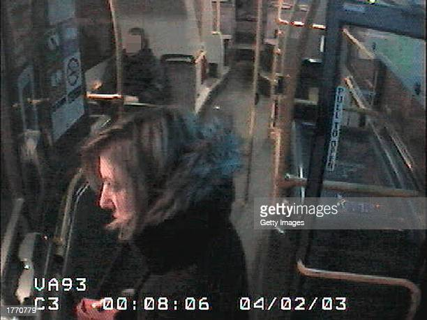 A Metropolitan police handout closed circuit still image from footage shows murder victim Marsha McDonnell on a bus February 4 2003 before her murder...