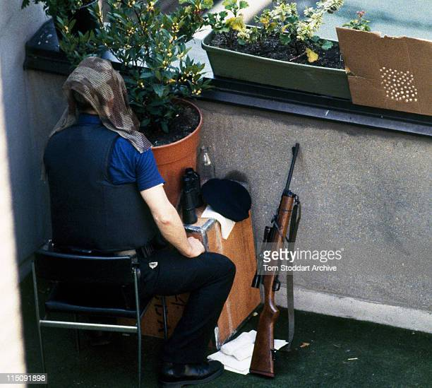 Metropolitan police marksmen photographed in their position overlooking the Libyan Embassy St James's Square during the 11 day siege after WPC Yvonne...
