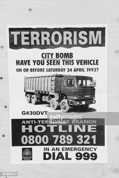 A Metropolitan Police poster asking for information on the Ford Iveco tipper truck used in the the Provisional IRA's truckbombing at Bishopsgate in...