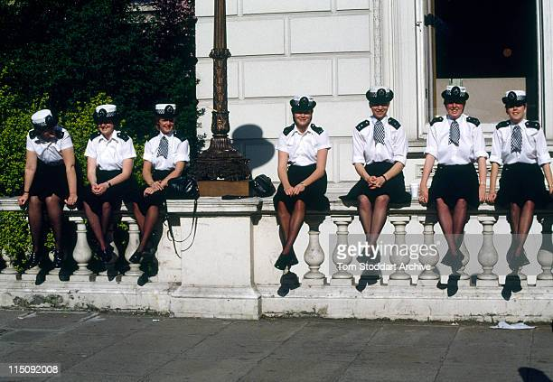 Metropolitan policewomen photographed during a break in duties near the Libyan Embassy St James's Square during the 11 day siege after WPC Yvonne...