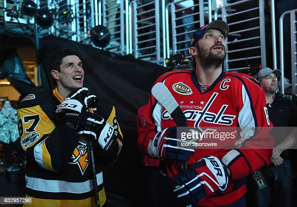 Metropolitan team member Sidney Crosby of the Pittsburgh Penguins and Metropolitan team member Alex Ovechkin of the Washington Capitals during player...