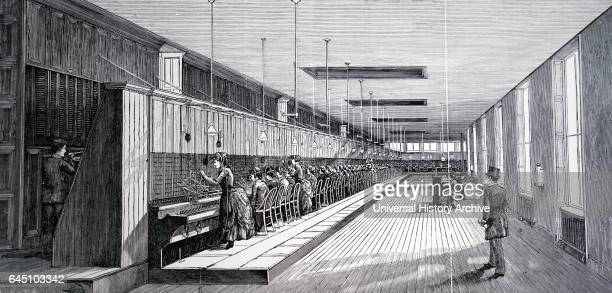 Metropolitan telephone company's central station Cartlant Street New York the switchboard The electric telephone New York 1890