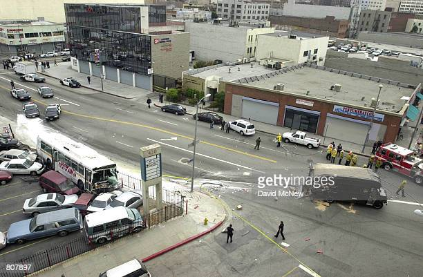 Metropolitan Transit Authority bus that was hijacked by a gunman and a UPS truck lie wrecked after crashing May 2 2001 in Los Angeles CA The suspect...