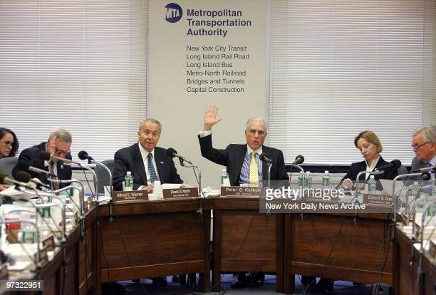 Metropolitan Transportation Authority Chairman Peter Kalikow votes yes to fare increases at an MTA board meeting The board voted 104 to raise fares...