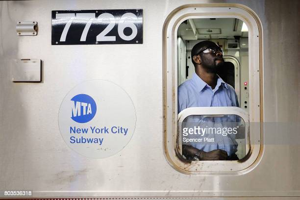 A Metropolitan Transportation Authority subway conductor prepares to leave a station on June 29 2017 in New York City Following a series of...