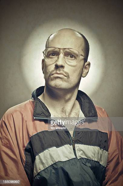 metrosexual retro guy - ugly bald man stock photos and pictures