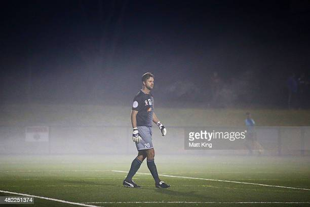 Metrostars SC goalkeeper Daniel Godley looks on in the fog during the FFA Cup match between Blacktown City FC and MetroStars FC at Lily's Football...