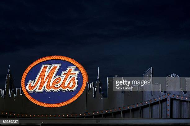 Mets logo inside the ground is seen on opening day at Citi Field on April 13 2009 in the Flushing neighborhood of the Queens borough of New York City...