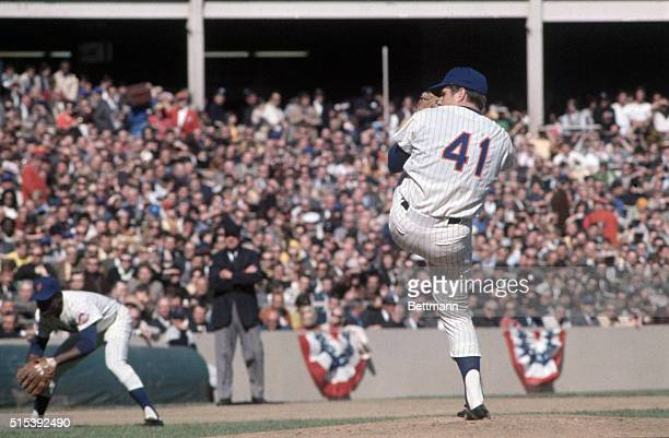 Mets' pitcher Tom Seaver is shown pitching at Shea Stadium here, against the Baltimore Orioles in the fourth game of the World Series. The Mets won...