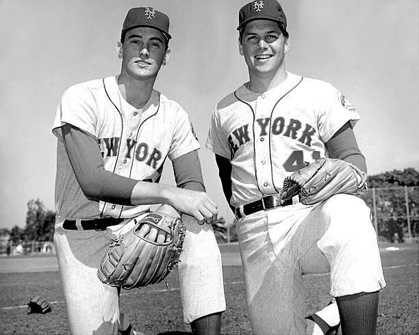 N.Y. Mets rookie righthander Nolan Ryan [left] with teammate