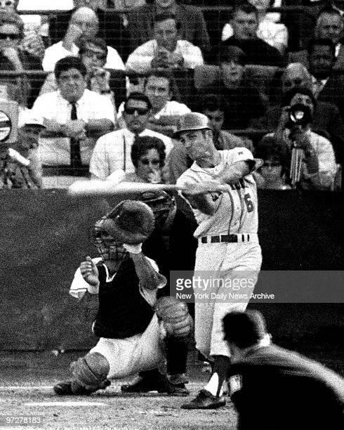 Y Mets vs Baltimore Orioles 1969 World Series Game 2 Winning hit blurs off the bat of Al Weis in ninth inning